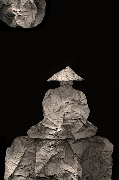 Monk Meditates Under Full Moon by Peter Cutler